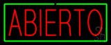 Red Abierto Green Border Neon Sign