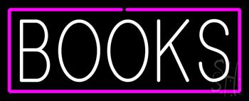 White Books Purple Border Neon Sign