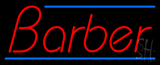 Red Barber with Blue Lines Neon Sign
