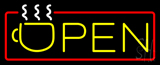 Open with Cup logo Neon Sign