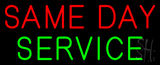 Red Same Day Service Neon Sign