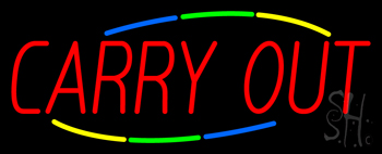 Multi Colored Carry Out Neon Sign