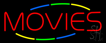 Multicolored Deco Style Movies Neon Sign