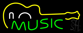 Green Music with Guitar Neon Sign