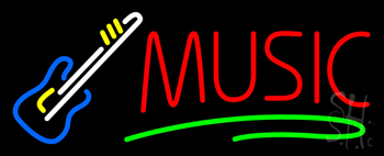 Music Block Guitar Neon Sign