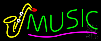 Green Music wih Saxophone Neon Sign