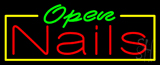 Green Open Nails Neon Sign