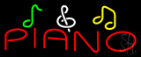Piano with Musical Note Neon Sign