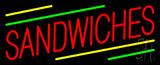 Red Sandwiches Yellow & Green Line Neon Sign