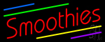 Red Smoothies with Multi Colored Lines Neon Sign