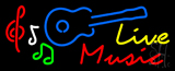 Live Music with Guitar Neon Sign