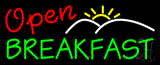 Red  Open Green Breakfast Neon Sign