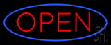 Blue Open with Red Oval Border Neon Sign