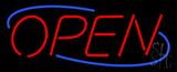 Open Blue Border Neon Sign