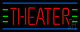 Red Theater Blue and Green Lines Neon Sign