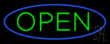 Green Open with Blue Oval Border Neon Sign