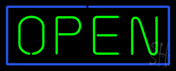 Open - Horizontal Green Letters with Blue Border Neon Sign