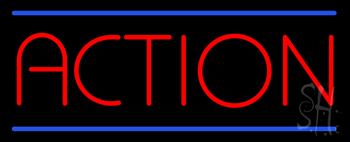 Red Action with Blue Lines Neon Sign
