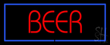 Red Beer with Blue Border Neon Sign