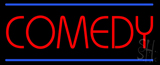 Red Comedy Blue Lines Neon Sign