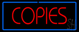 Red Copies Blue Border Neon Sign