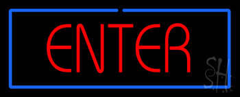 Red Enter with Blue Border Neon Sign