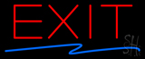 Exit Neon Sign with Zigzag Blue Line