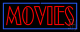 Red Movies with Blue Border Neon Sign