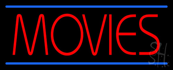 Red Movies Blue Lines Neon Sign