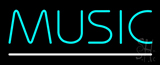 Turquoise Music White Line Neon Sign
