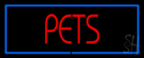Red Pets Blue Border Neon Sign
