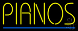 Pianos Blue Border Neon Sign