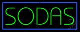 Green Sodas with Blue Border Neon Sign