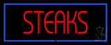 Red Steaks with Blue Border Neon Sign
