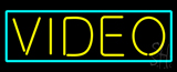 Yellow Video Turquoise Border Neon Sign