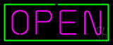 Open - Horizontal Pink Letters with Green Border Neon Sign