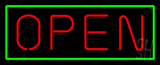 Open - Horizontal Red Letters with Green Border Neon Sign