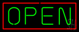 Open - Horizontal Green Letters with Red Border Neon Sign