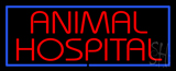 Red Animal Hospital Blue Border Neon Sign