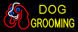 Yellow Dog Grooming with Logo Neon Sign