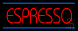 Red Espresso with Blue Lines Neon Sign