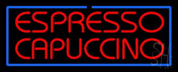 Red Espresso Cappuccino with Blue Border Neon Sign