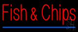 Fish & Chips with Blue Border Neon Sign