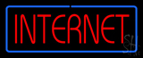 Red Internet Blue Border Neon Sign