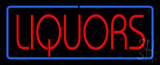 Red Liquors Blue Border Neon Sign