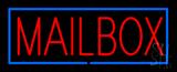 Mailbox Block Blue Border Neon Sign