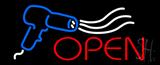 Open Hair Dryer Logo Neon Sign
