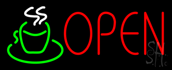 Open Coffee Cup Logo Neon Sign