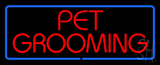 Red Pet Grooming Blue Border LED Neon Sign