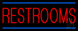 Red Restrooms Blue Lines Neon Sign